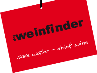 Logo auf rotem Etikett: der weinfinder, save water – drink wine